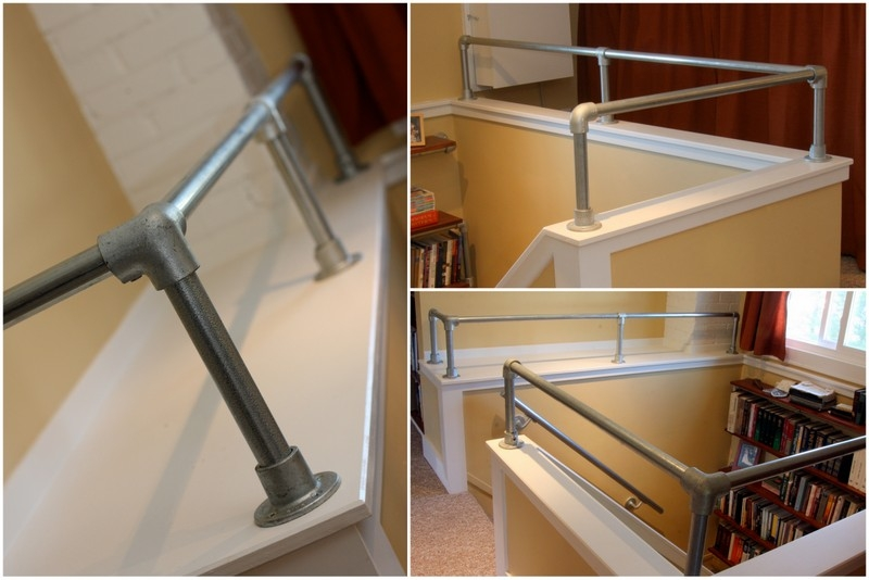 Interior Industrial Pipe Handrail Simplified Building | Industrial Pipe Stair Railing | Threaded Pipe | Rail | Banister | Galvanized Pipe | Wall
