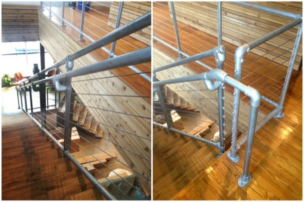 Cable Railing System On Kee Klamp Pipe Railing Simplified Building | Black Pipe Stair Railing | Industrial Farmhouse | Iron Pipe | Banister | Diy | Wrought Iron