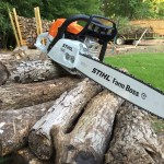 Splitting Wood with New Chainsaw