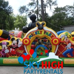 Table And Chair Rentals Houston With Leg Support Mickey Toddler Bounce House | Sky High Party