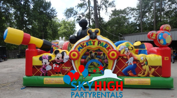 mickey mouse chairs and table boat bean bag toddler bounce house houston | sky high party rentals