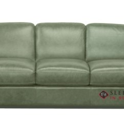 Sage Leather Sofa Fabric Sets Quick Ship Rubicon B534 Queen By Natuzzi Fast Sleeper In Neptune