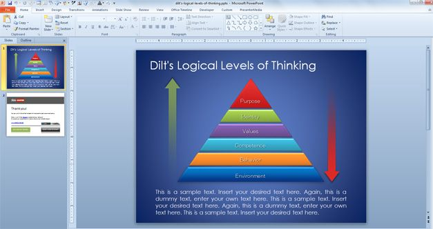 Free Pyramid with Logical Levels of Thinking for PowerPoint