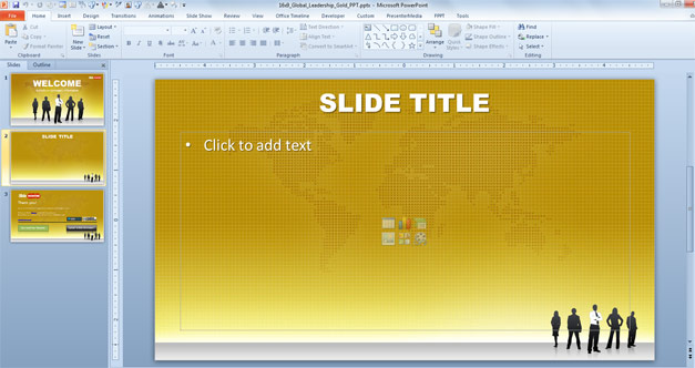 Free Widescreen Global Leadership Gold PowerPoint Template