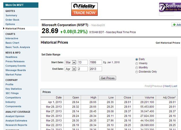 msft stock quote yahoo finance