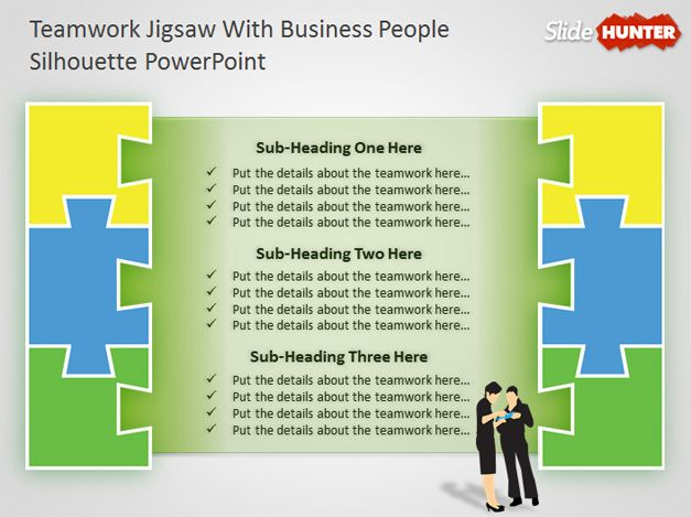 Free Teamwork PowerPoint Diagram With Jigsaw Illustration Free PowerPoint Templates