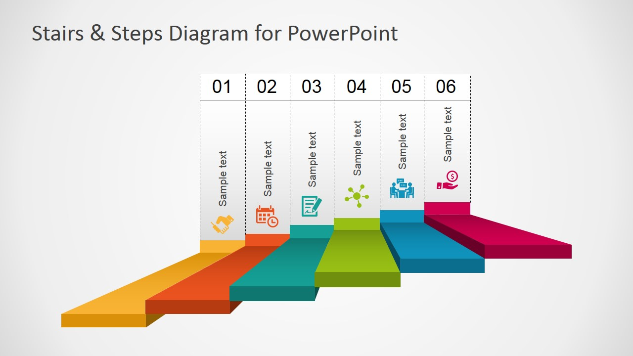 hight resolution of powerpoint 6 steps stairs diagram