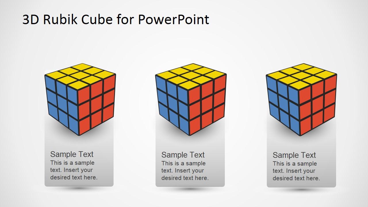 hight resolution of editable powerpoint 3x3x3 rubik cube powerpoint diagram featuring three rubik s cubes