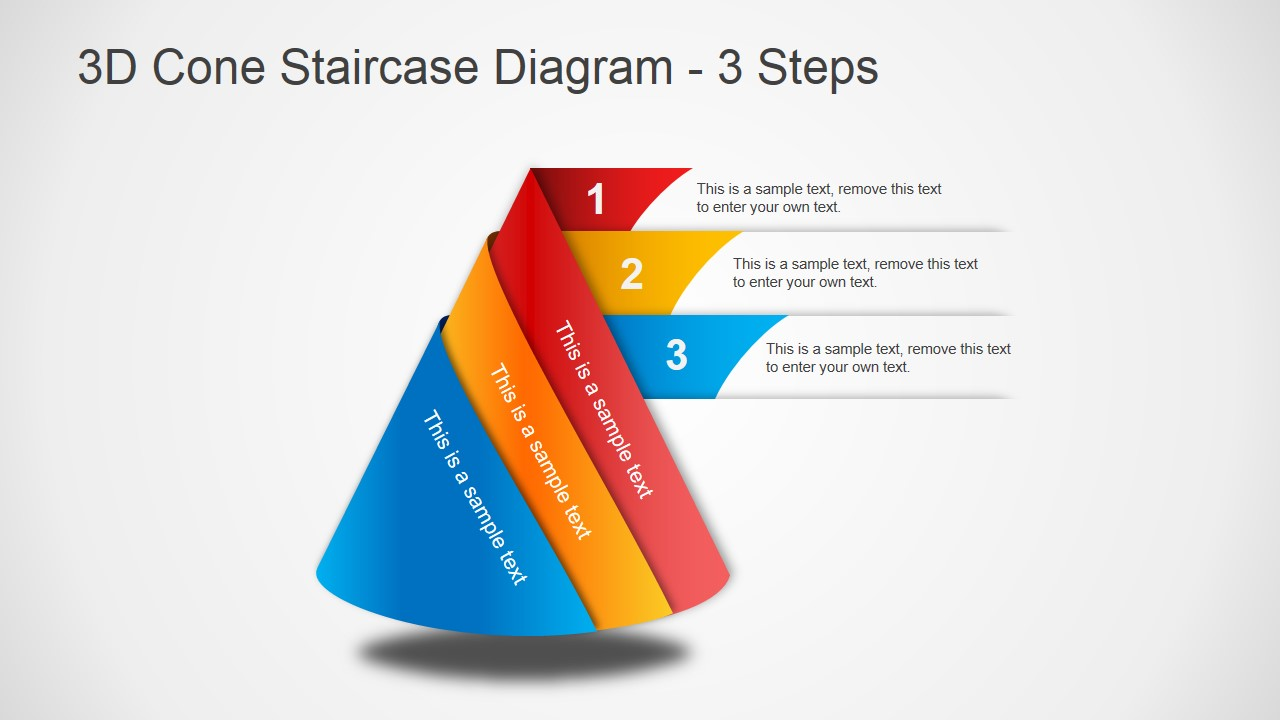 hight resolution of 3d cone staircase diagram for powerpoint slidemodel rh slidemodel com sideways cone diagram pyramid diagram