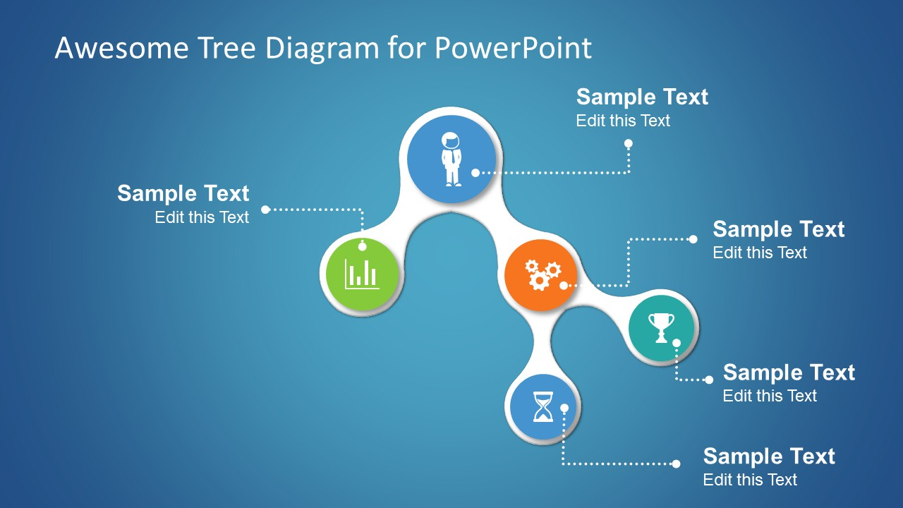 hight resolution of  awesome tree diagram for powerpoint presentations with small icons on each node