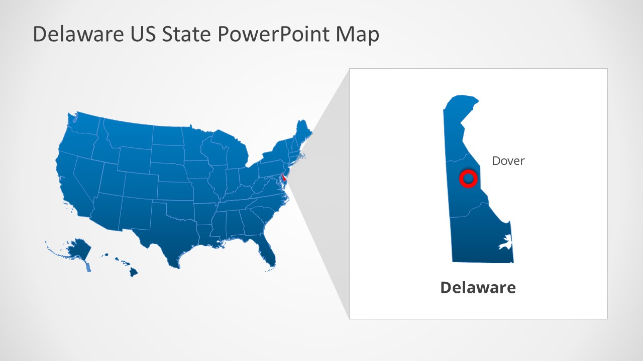 It is the second smallest state by area in the united states covering an area of 1,982 sq miles (5,130 km2). Usa Editable Map And Delaware Ppt Slidemodel