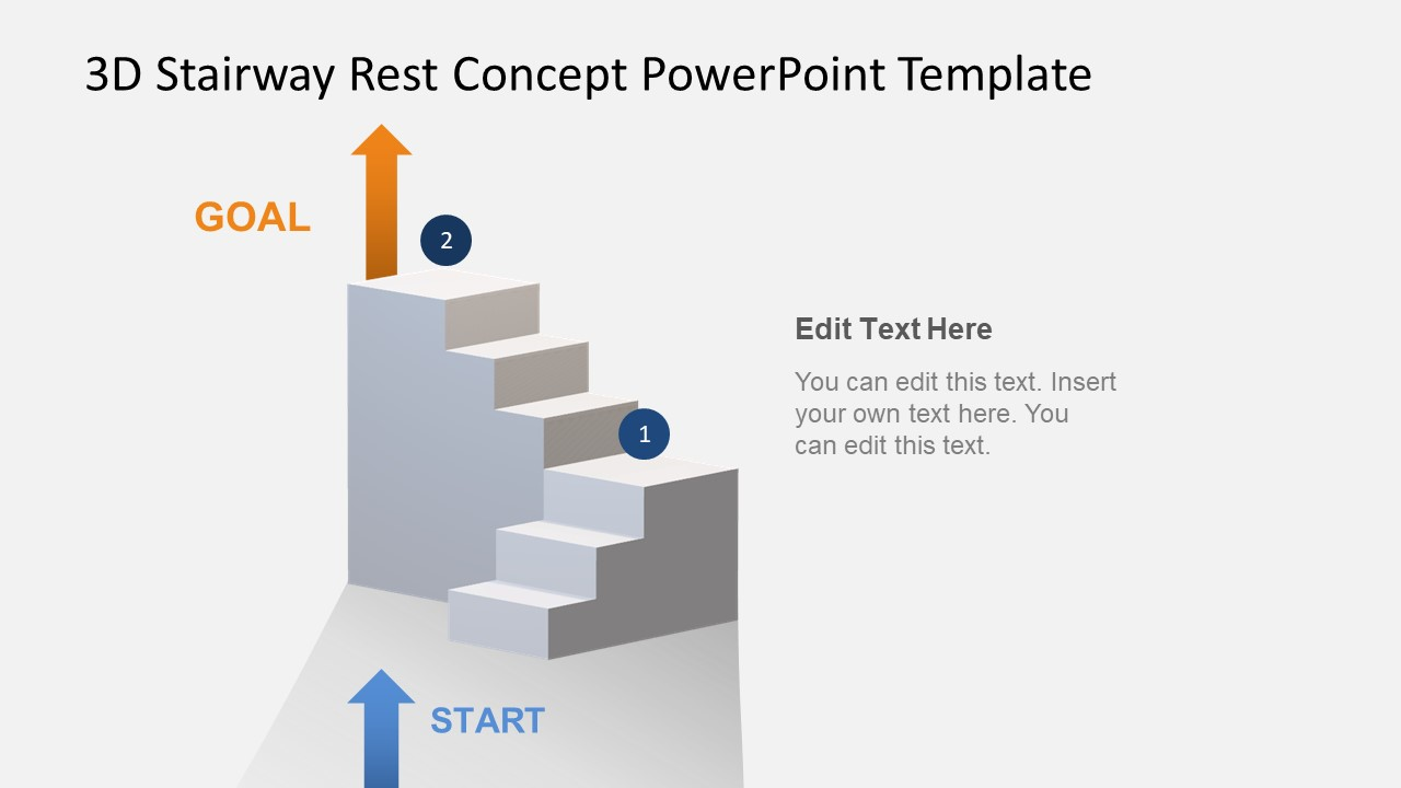 hight resolution of animated 3d stairway rest concept powerpoint template