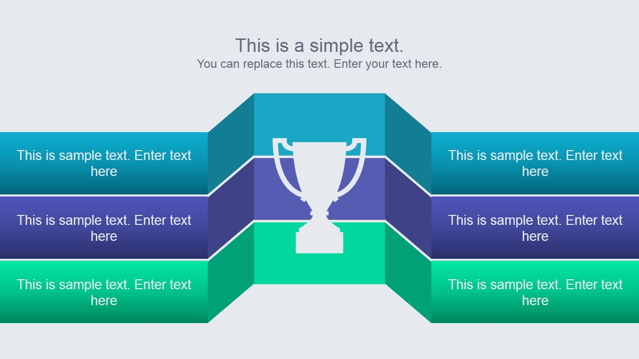 Animated Research Powerpoint Template. Winner Podium Slide Design With 3  Rows