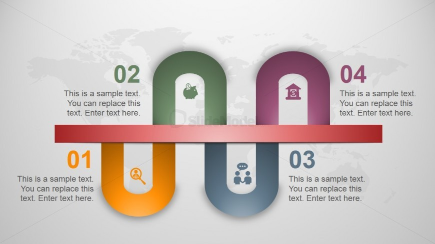 U Shaped Layout Timeline for PowerPoint and 4 Elements - SlideModel