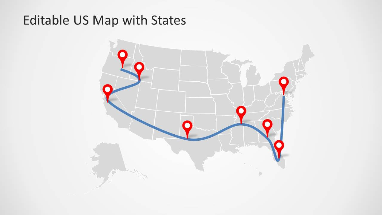 Microsoft powerpoint is a great tool for creating. Editable Us Powerpoint Map With States And Map Pointers Slidemodel