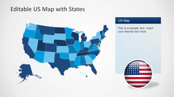 US Map Template for PowerPoint with Editable States