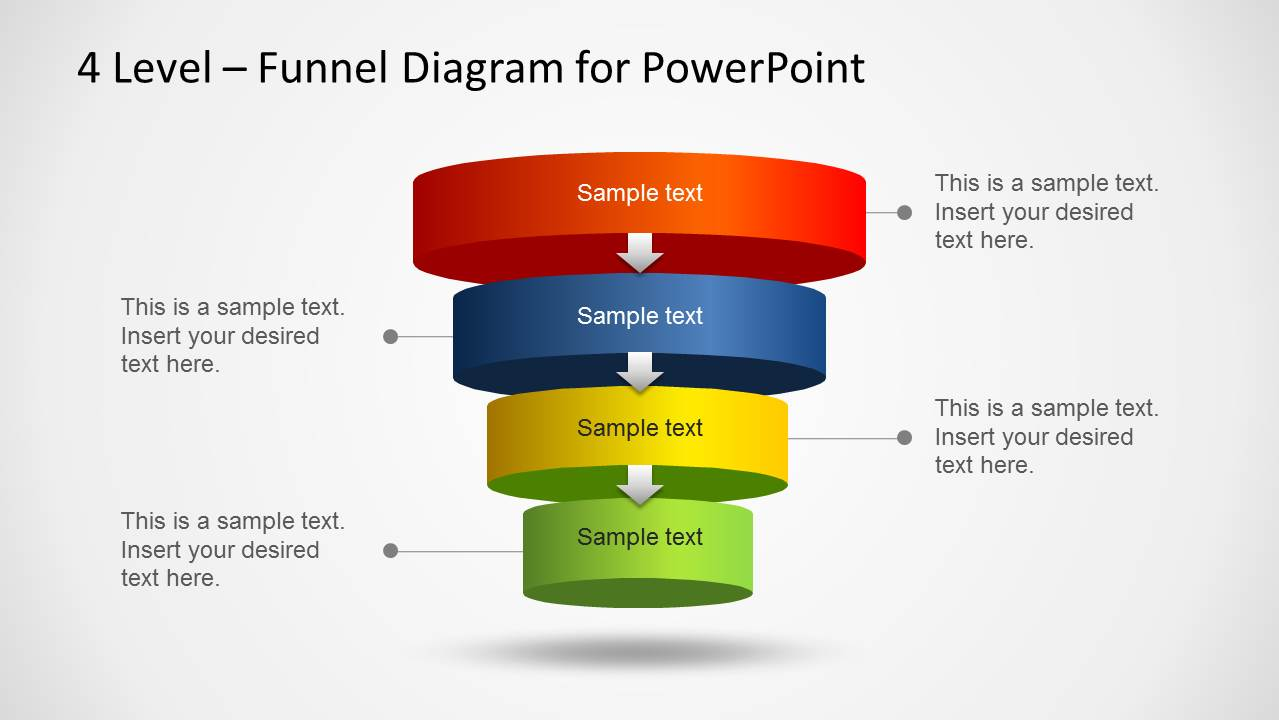 hight resolution of 3d powerpoint layered funnel diagram with four steps