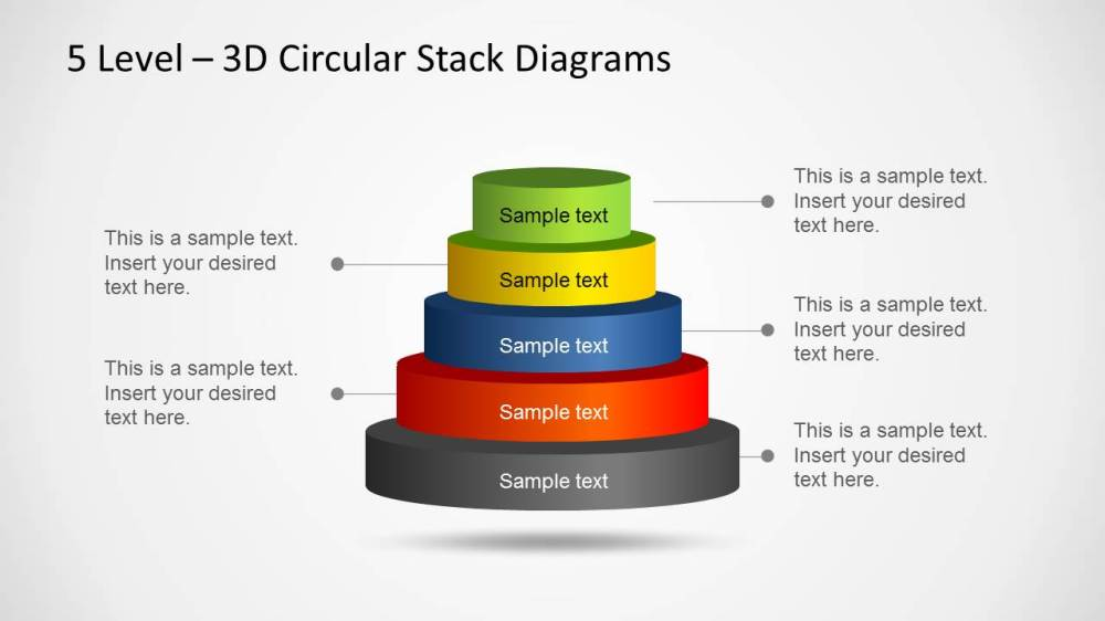 medium resolution of 3d circular stack diagram for powerpoint with 5 levels
