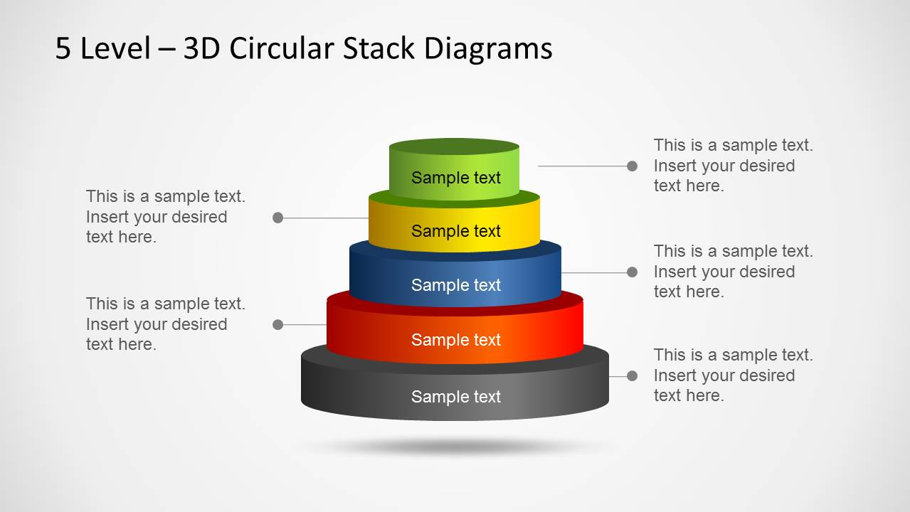 hight resolution of 3d circular stack diagram for powerpoint with 5 levels