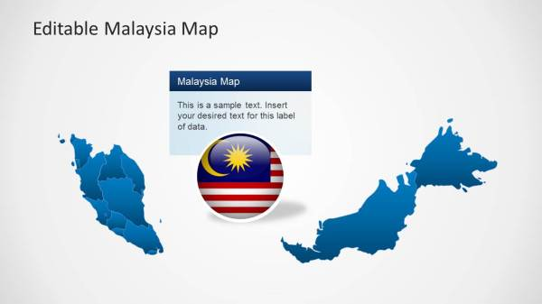Malaysia Map Template for PowerPoint SlideModel