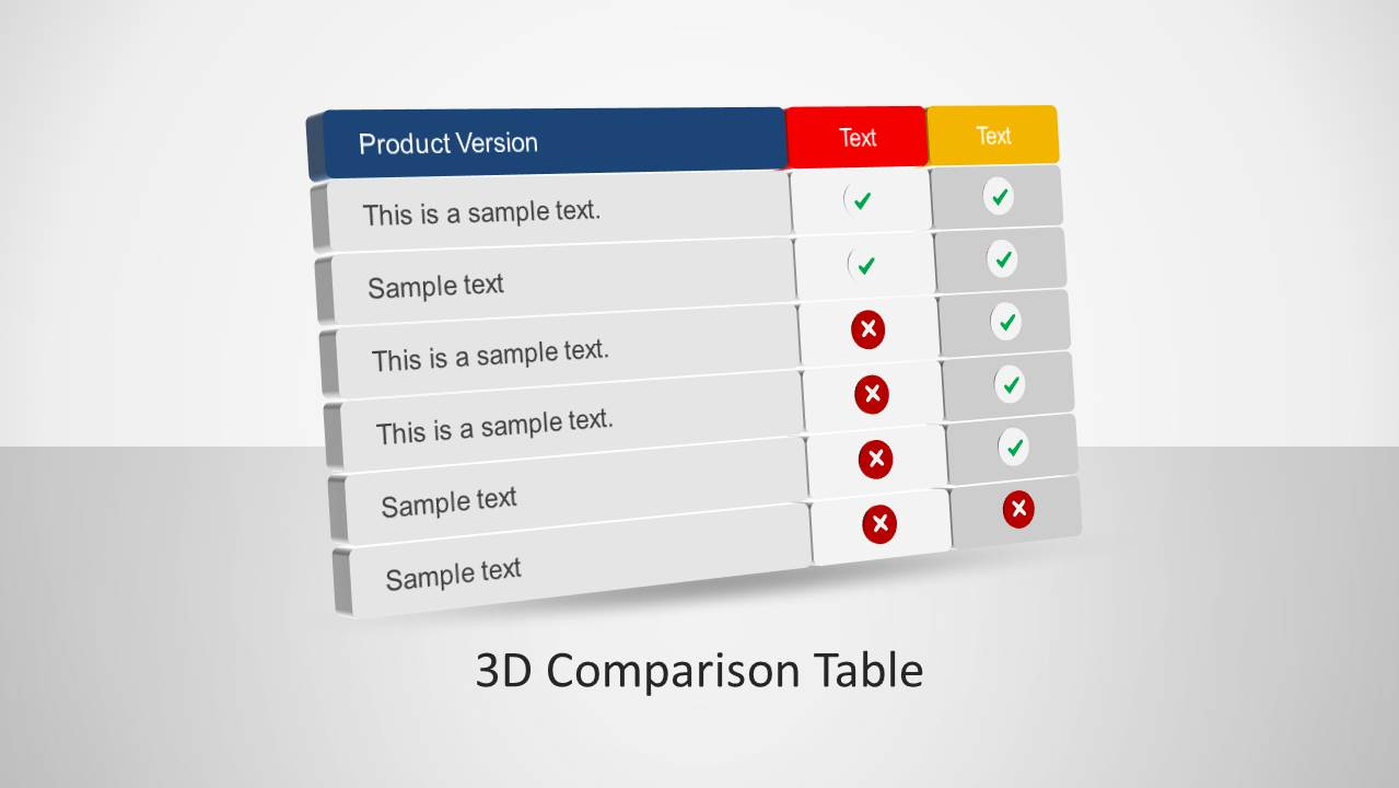 hight resolution of 3d comparison table powerpoint template