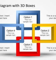 powerpoint 3d square shapes overlapping quadrants 4 options diagram template for powerpoint  [ 1280 x 720 Pixel ]