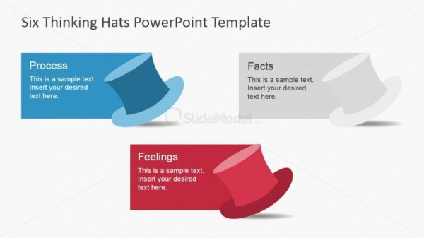 Three Thinking Hats for PowerPoint SlideModel