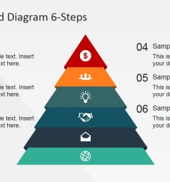 6 steps flat pyramid powerpoint diagram pyramid with icons and numbered placeholders  [ 1280 x 720 Pixel ]