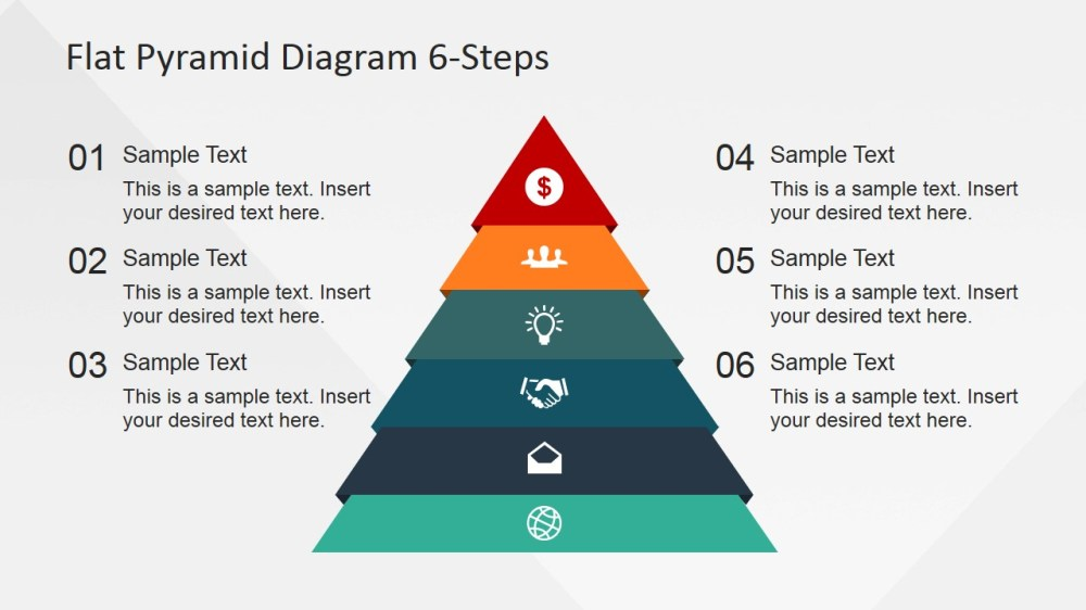 medium resolution of 6 steps flat pyramid powerpoint diagram pyramid with icons and numbered placeholders
