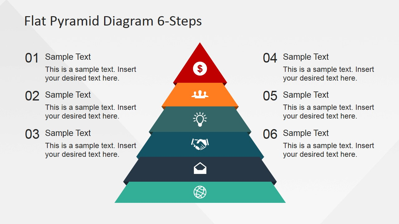 hight resolution of 6 steps flat pyramid powerpoint diagram pyramid with icons and numbered placeholders