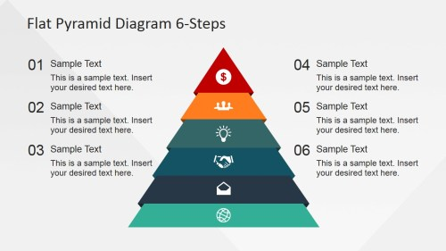 small resolution of 6 steps flat pyramid powerpoint diagram pyramid with icons and numbered placeholders