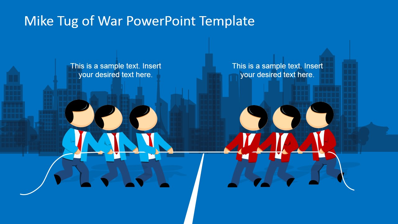 Mike Tug Of War PowerPoint Template SlideModel