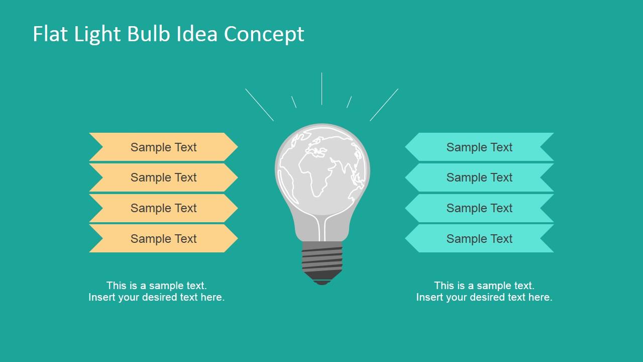 Flat Light Bulb Idea Concept For Powerpoint Slidemodel