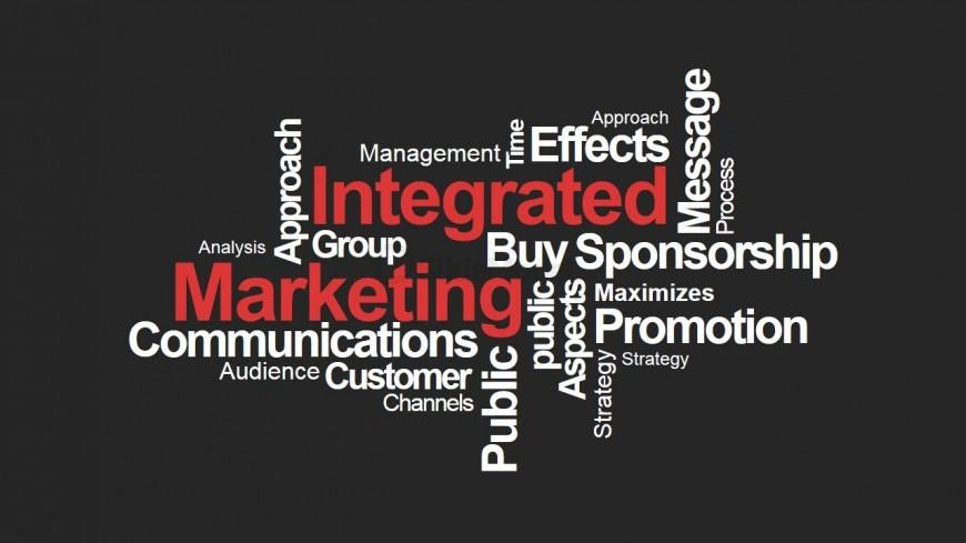 Integrated Marketing PowerPoint Word Cloud Black SlideModel