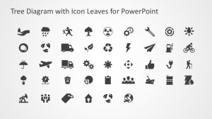Tree Diagram with Icon Leaves for PowerPoint