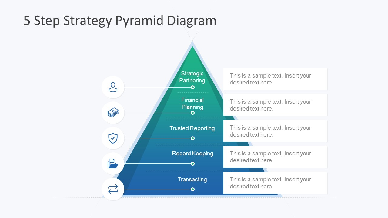 hight resolution of 5 step strategy pyramid diagram strategy planning model diagram