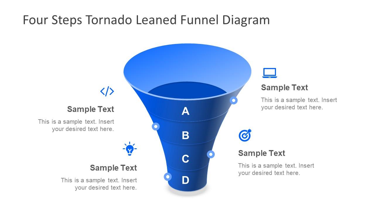4 Step Tornado Leaned Funnel Diagram For Powerpoint