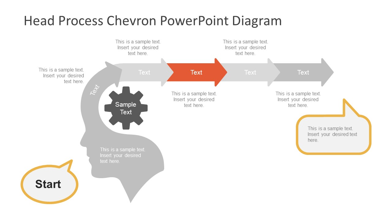 hight resolution of  silhouette powerpoint head process chevron diagram template with arrows