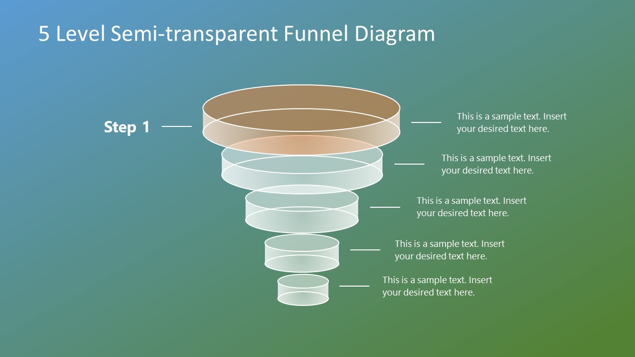 hight resolution of download free 5 level semi transparent funnel diagram for powerpoint