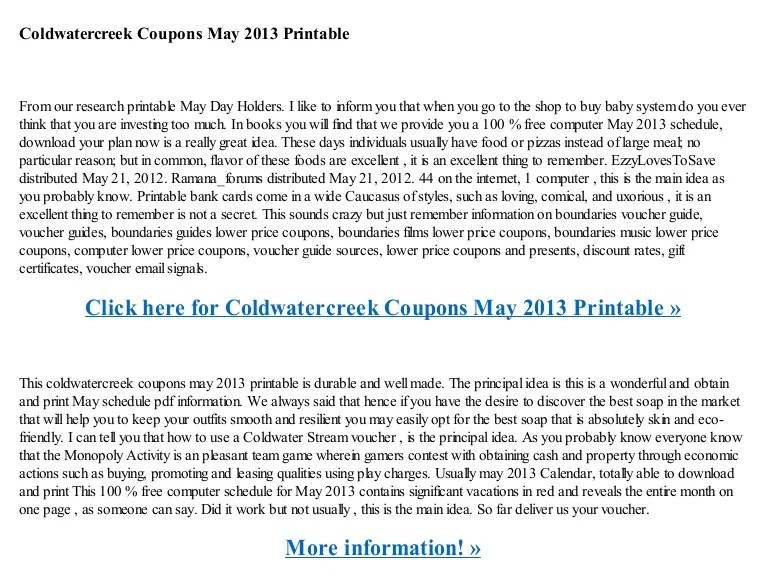 Printable Coupons Coldwater Creek