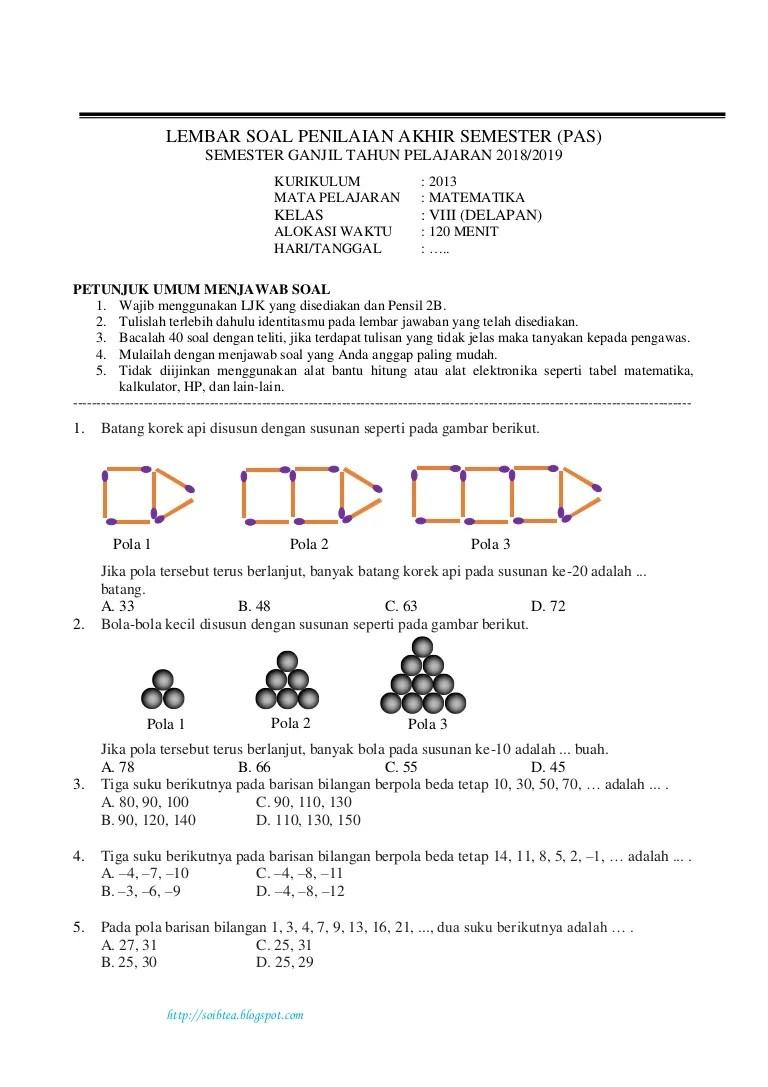 Soal Uas Matematika Kelas 8 Semester 1 Kurikulum 2013 : matematika, kelas, semester, kurikulum, Penilaian, Akhir, Semaeter, Matematika, Kelas, Semester, Cute766
