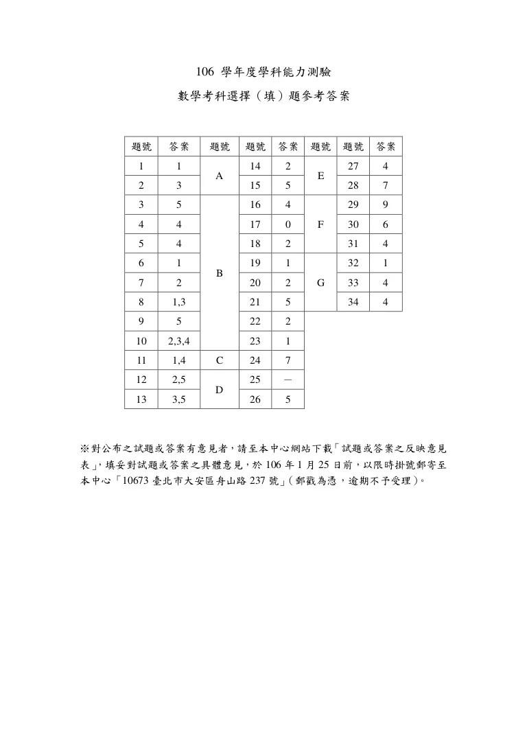 106學測數學科參考答案