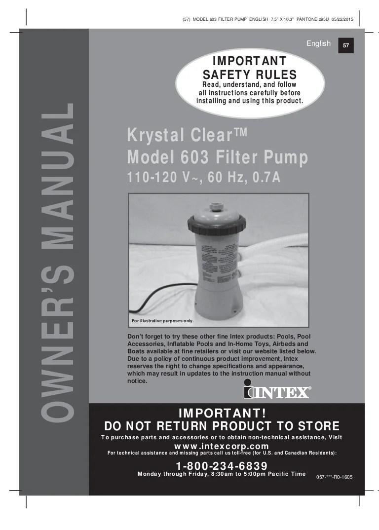 Filter Pump Manual For Intex Pools