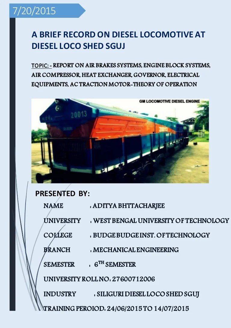 project report trainee engineer at diesel locomotive shed indian railways [ 768 x 1087 Pixel ]