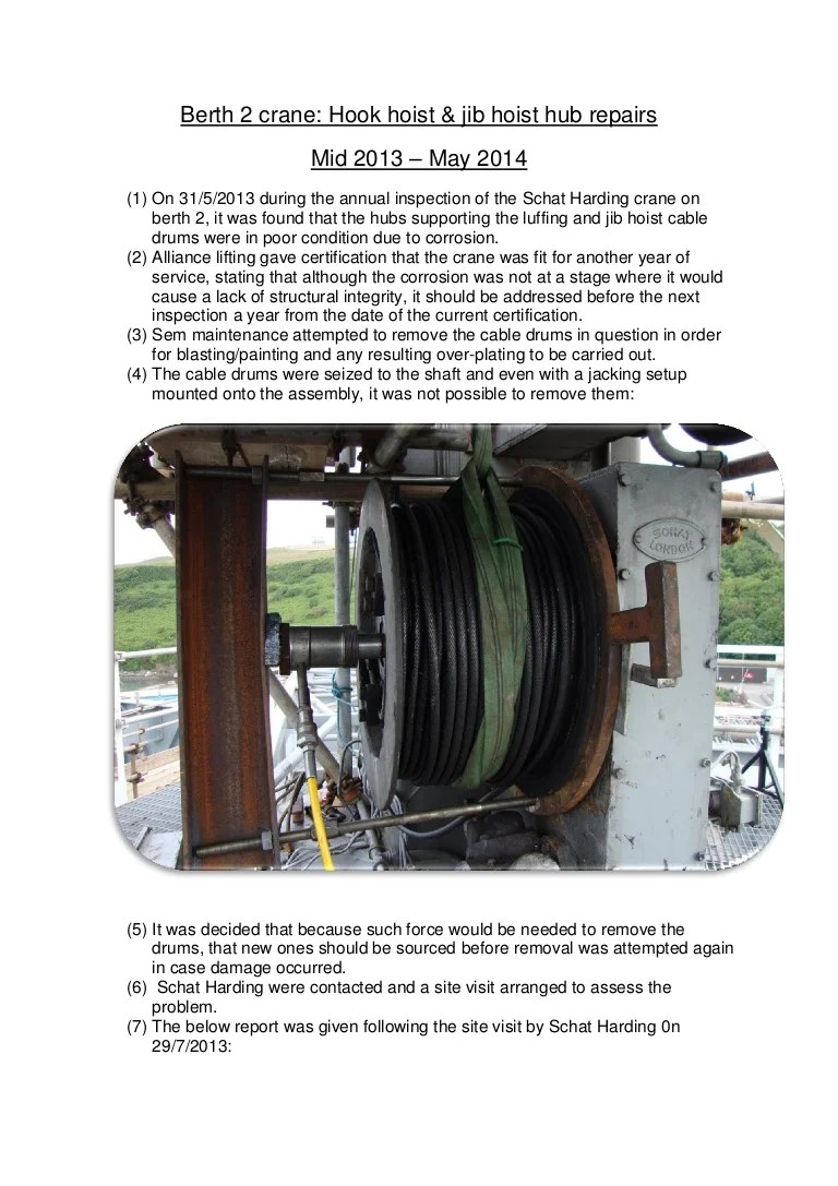 medium resolution of wire rope hoist problem