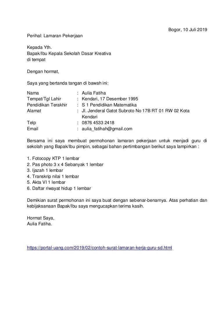 Contoh Surat Lamaran Jadi Guru Contoh Kuat Cute766