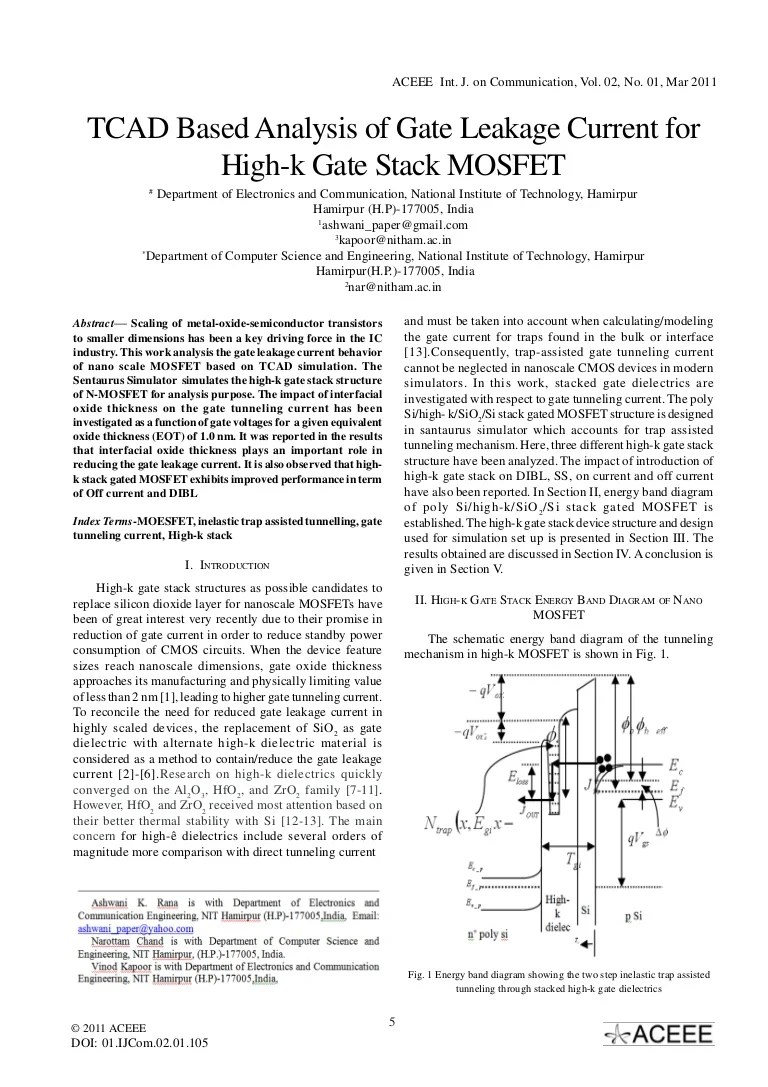 small resolution of tcad based analysis of gate leakage current for high k gate stack mosfet