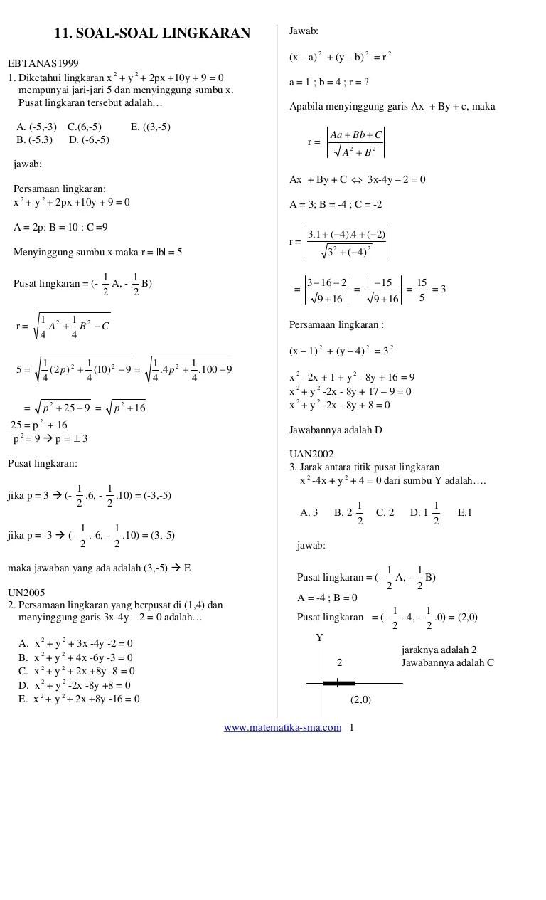 Contoh Soal Lingkaran Kelas 11 : contoh, lingkaran, kelas, Lingkaran