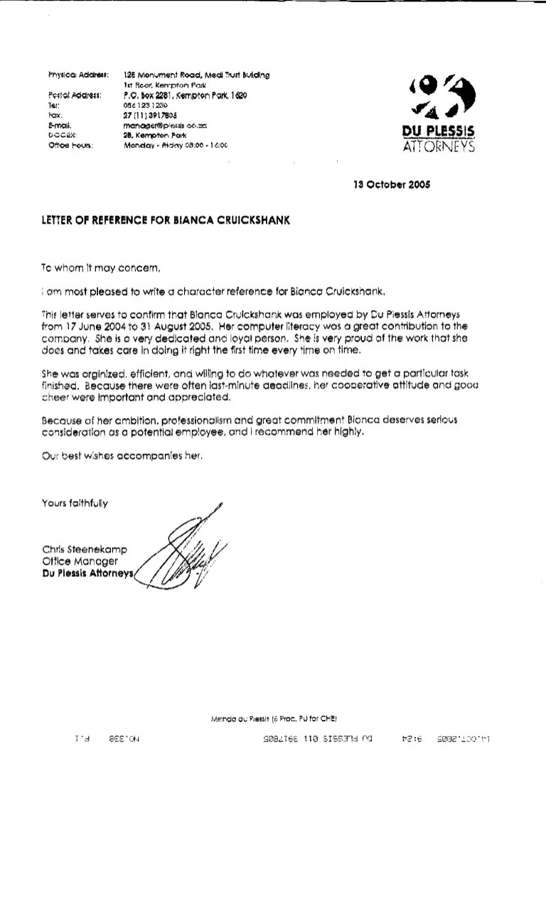 BD  Du Plessis Attorneys  Reference letter