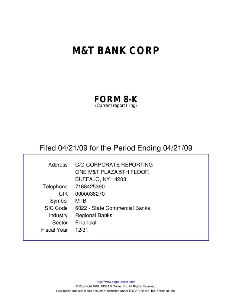 Q1 2009 Earning Report Of M T Bank Corp
